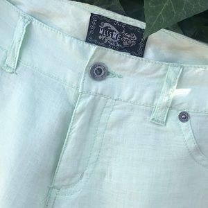 Linen Jean style Pants Mint green Med NWOT Vintage